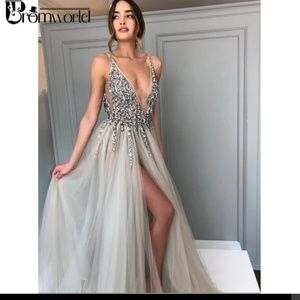 Promworld Backless Grey Evening Dresses 2019